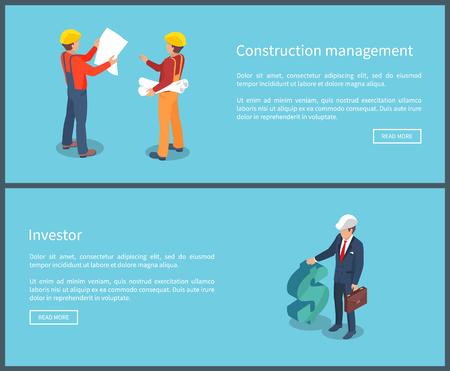 Construction Management Web Vector Illustration