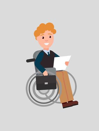 Disabled Man Reading Paper Vector Illustration