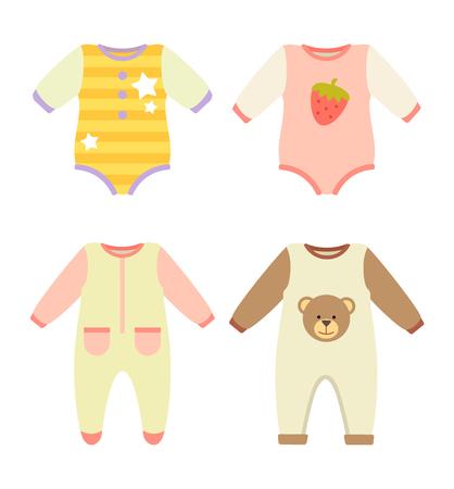 Baby Clothes Jumpers Set, Vector Illustration Standard-Bild - 102261097