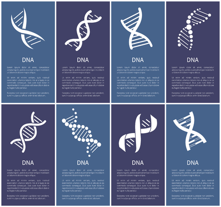 DNA Set of White Spirals Isolated on Blue Backdrop