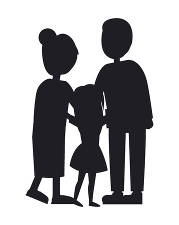 Mother Father and Dauhgter, Family Vector Banner Illustration