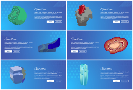 Gemstones Web Poster Set Aquamarine Agate Sapphire Illustration