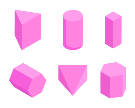 Pink Prisms, Set of Six Geometric Figures Banner