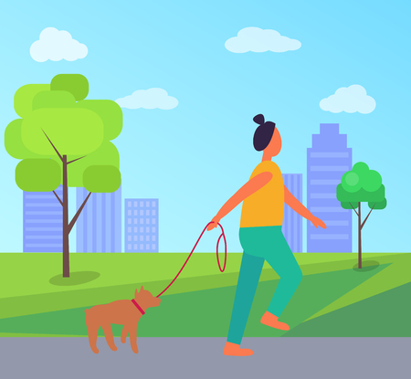 Woman with Dog in Park Vector Illustration
