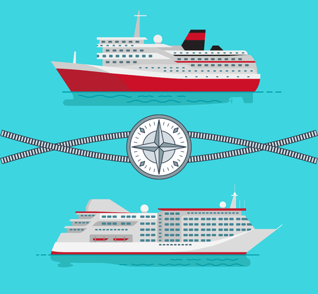 Ships and Rope with Compass Vector Illustration