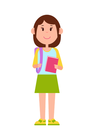 Schoolgirl Stands with Backpack and Pink Notebook