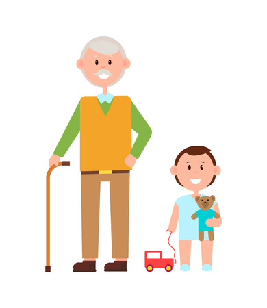 Grandfather Grandson Banner Vector Illustration