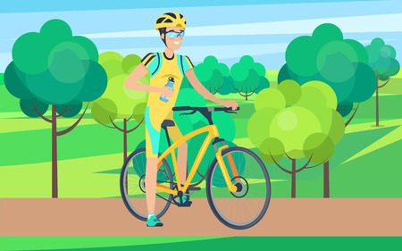 Sportsman on Bicycle View from Right Illustration