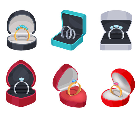 Gold and Silver Rings with Stones in Gift Box Illustration