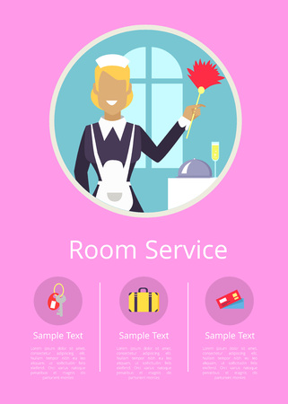 Room Service Internet Page with Cleaning Woman