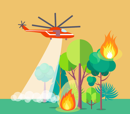 Poster of Helicopter Extinguishing Wildfire Illustration
