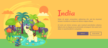 Indian Jungle with Tall Trees and Exotic Animals Ilustração