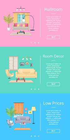 Hallroom and Room Decor on Vector Illustration