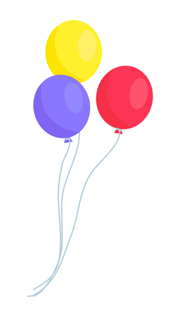 Image of Three Colorful Balloons Isolated on White