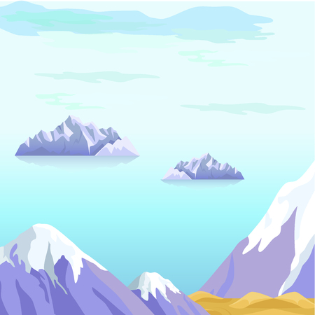 Beautiful Vector Landscape With Icebergs in Sea Иллюстрация
