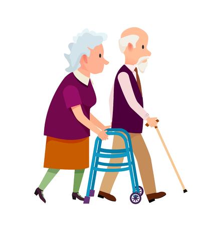 Grandparents Banner Grandpa and Grandma Isolated Illustration