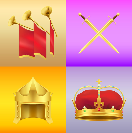 Golden Medieval Symbols Realistic Vector Icons Set Royalty Free