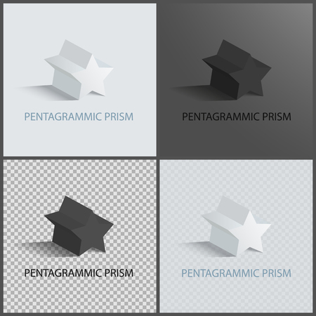 Pentagrammic Prisms Isolated on Black and White
