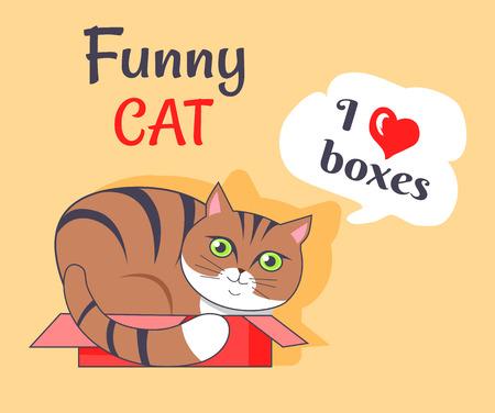 Funny Cat I Love Boxes Poster Vector Illustration Illustration