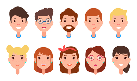 Set of Women and Men Faces, Character Constructor Çizim