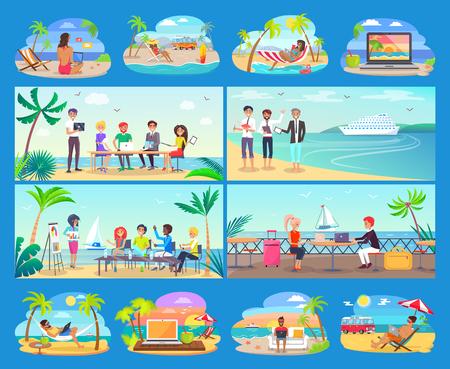 Freelancers Work All Around World in Comfort Set Illustration
