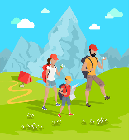 Travelers and Mountains Flower Vector Illustration