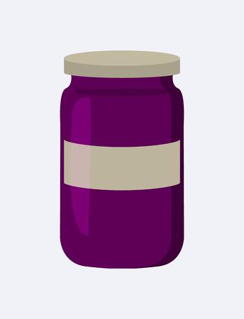 Jar with Jam Closeup Poster Vector Illustration