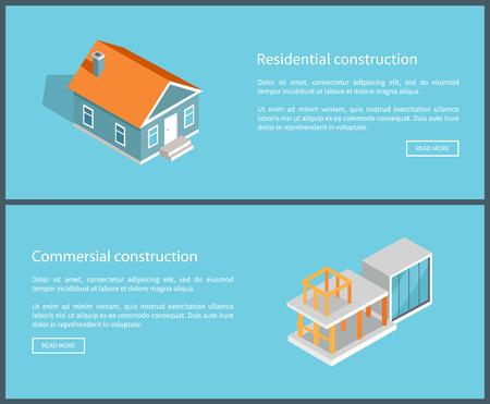 Residential Construction Set Vector Illustration Ilustração