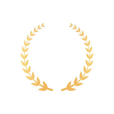 Emblema hecho de ramas de laurel, icono de hojas doradas