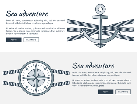 Sea Adventure Pages Collection Vector Illustration Çizim