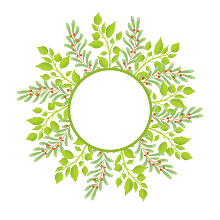 Wreath Frame Place for Text with Green Branches