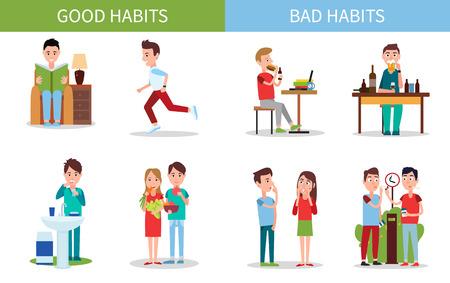 Conjunto de carteles de malos y buenos hábitos ilustración vectorial