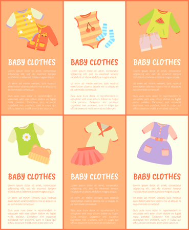 Baby Clothes Collection Text Vector Illustration Standard-Bild - 102392605