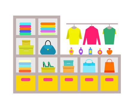 Clothing Store Shelves Poster Vector Illustration