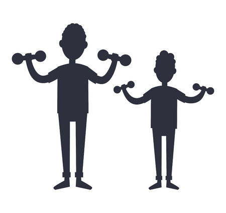 Father and Son Train with Dumbbells Vector Stock Illustratie