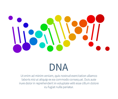 DNA Chain in Rainbow Colors on Scientific Poster