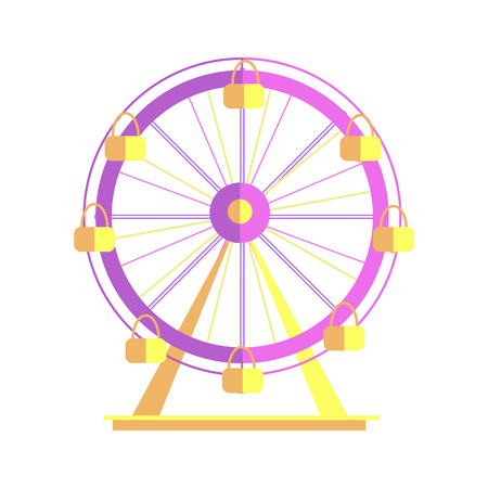 Ferris Wheel Closeup Poster Vector Illustration Illustration