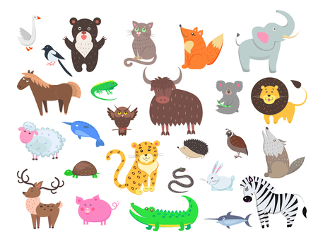 Cute Animals Cartoon Flat Vector Set