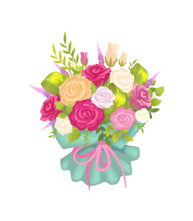 Elegance Bunch with Varied Color Roses and Lilac Ilustracja