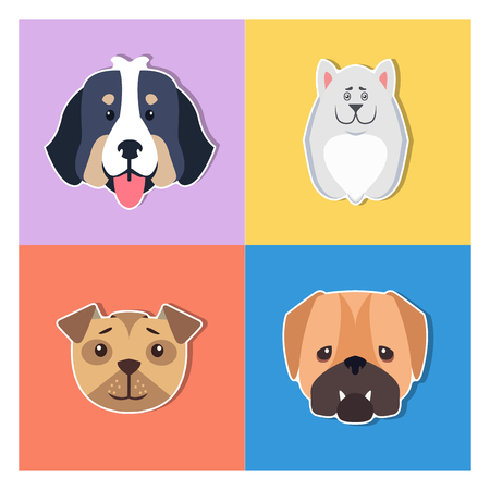 Cute Dogs Muzzles Cartoon Flat Vector Icons Set