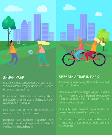 Spending Time in Urban Park Posters with Text