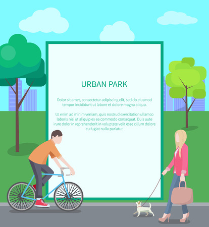 Urban Park Card, Colorful Vector Illustration
