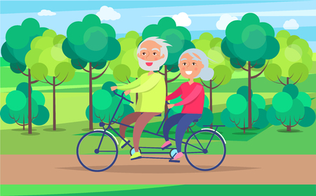 Happy Mature Couple Riding Together on Bike Vectores