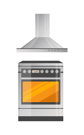 Modern Kitchen Stove with Powerful Hood Above Standard-Bild - 102393658