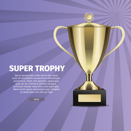 Super Trophy Vector Web Banner with Gold Cup