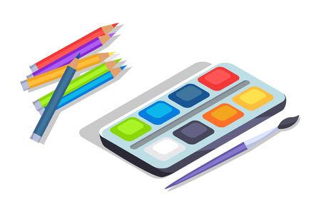 Watercolor Paints Colorful Palette Box with Brush