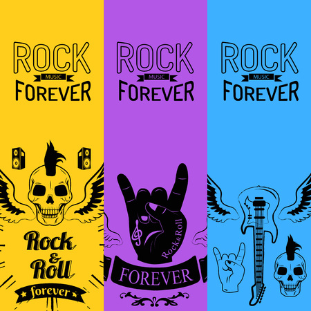 Rock Music Forever Collection of Colorful Posters Illustration
