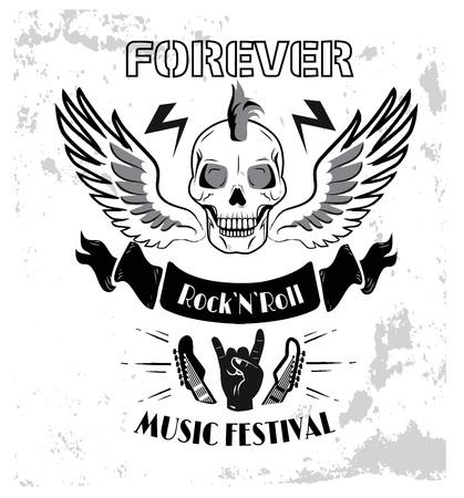 Forever Rock n roll Music Fest Vector Illustration Illustration