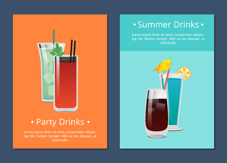Summer Party Alcohol Drink Poster with Bloody Mary