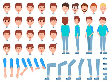 Conjunto de caras de hombre, partes del cuerpo, parte delantera trasera masculina